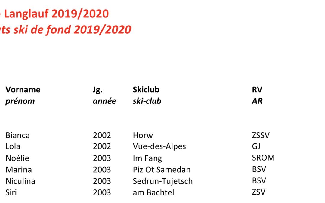 Sélection au sein du cadre des candidats Swiss-ski